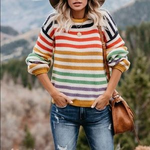 Color Cotton Blend Pullover Sweater